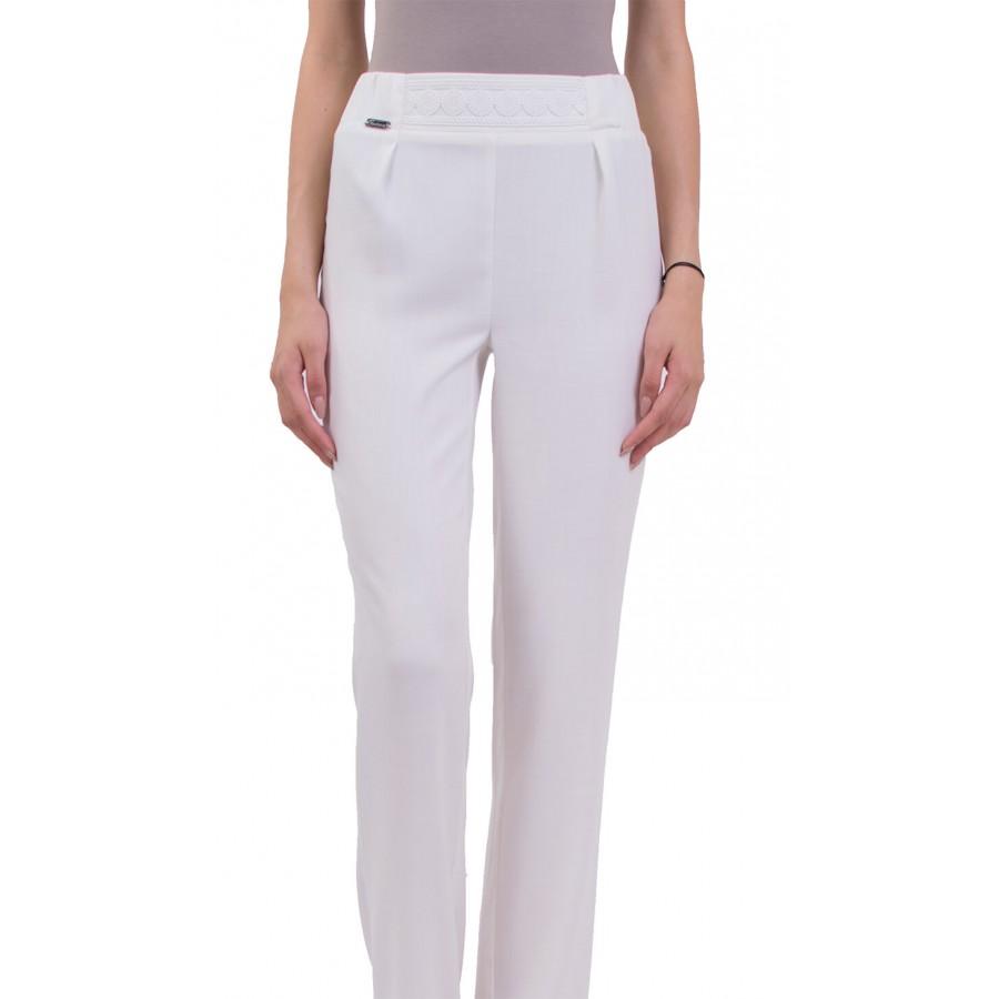 Бял дамски ленен панталон с прав крачол  N 18164