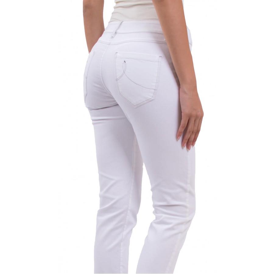 Летен, бял дамски панталон от памучен плат N 18167