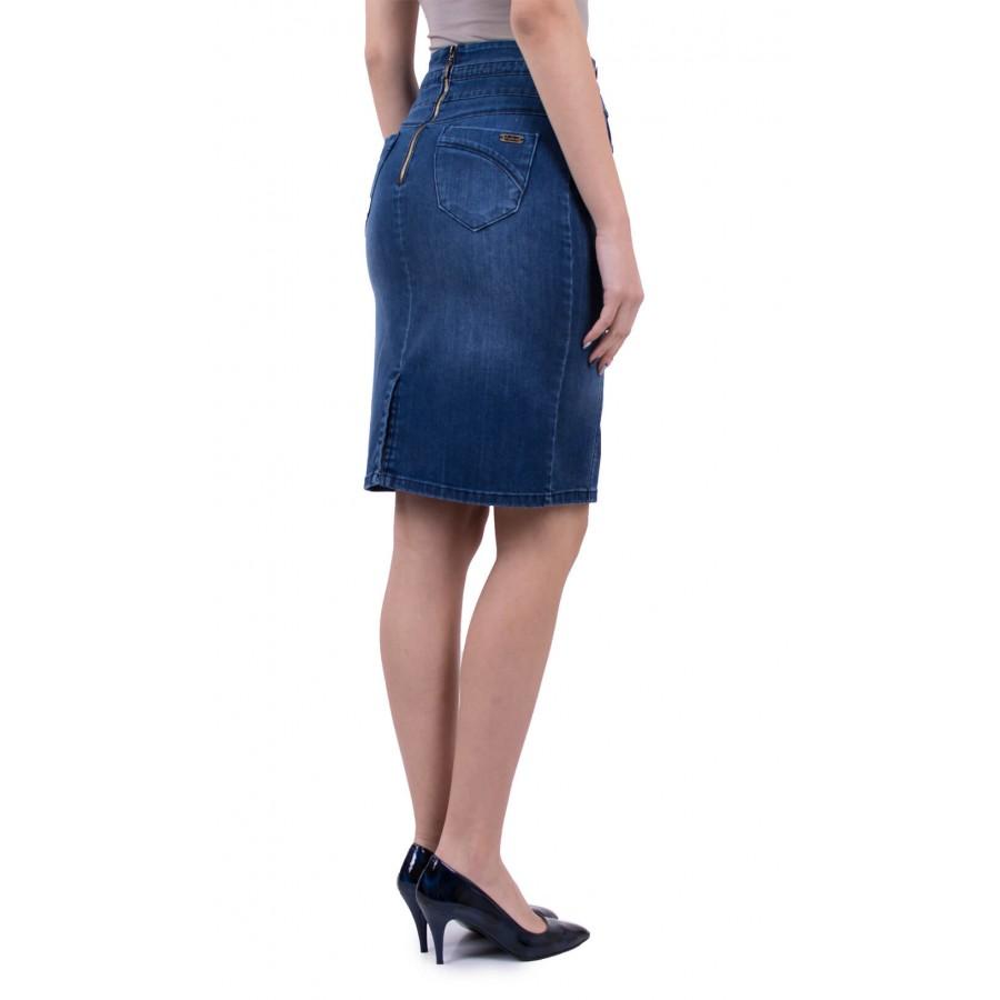 Дънкова пола с декоративни копчета  P 18101