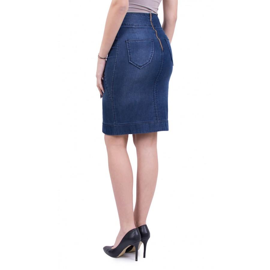 Дънкова пола с ефектно подсилени детайли от тенсел деним P 18138  на топ цена