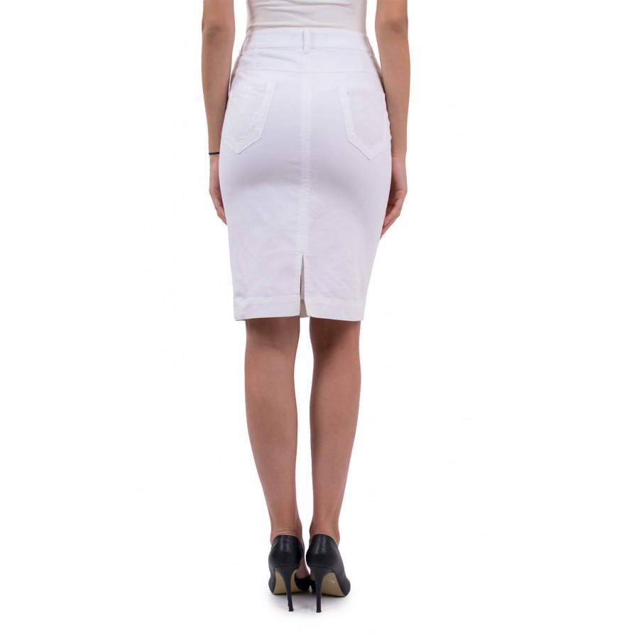 Бяла, памучна дамска пола P 18168