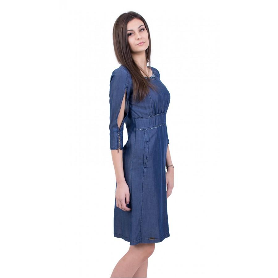Лятна дънкова рокля от тенсел деним R 18106  на топ цена