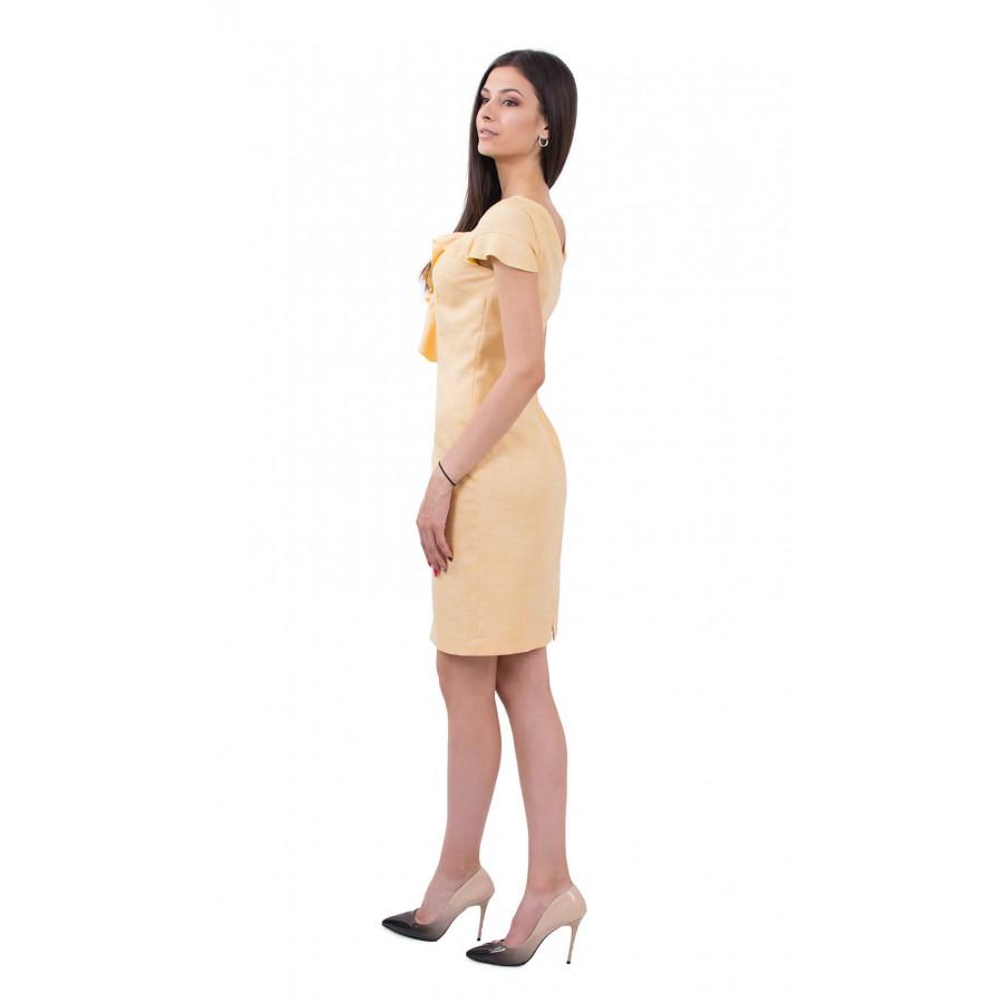 Жълта ленена рокля R 18164