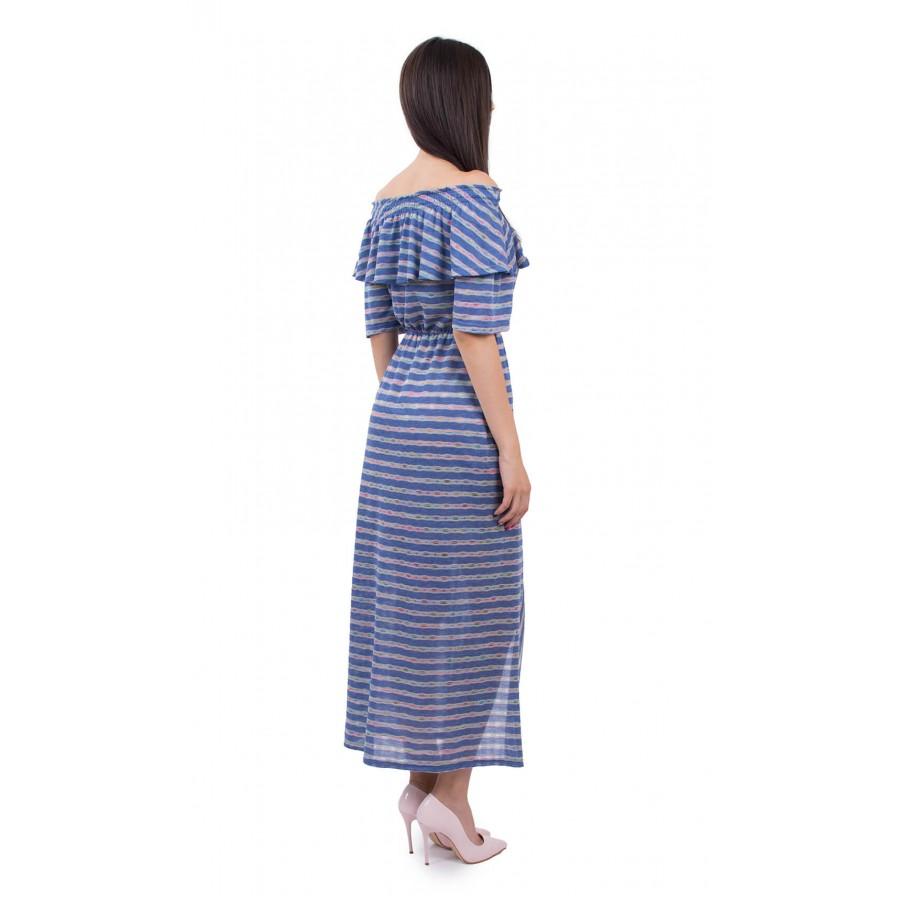 Дълга трикотажна рокля от памук  R 18167