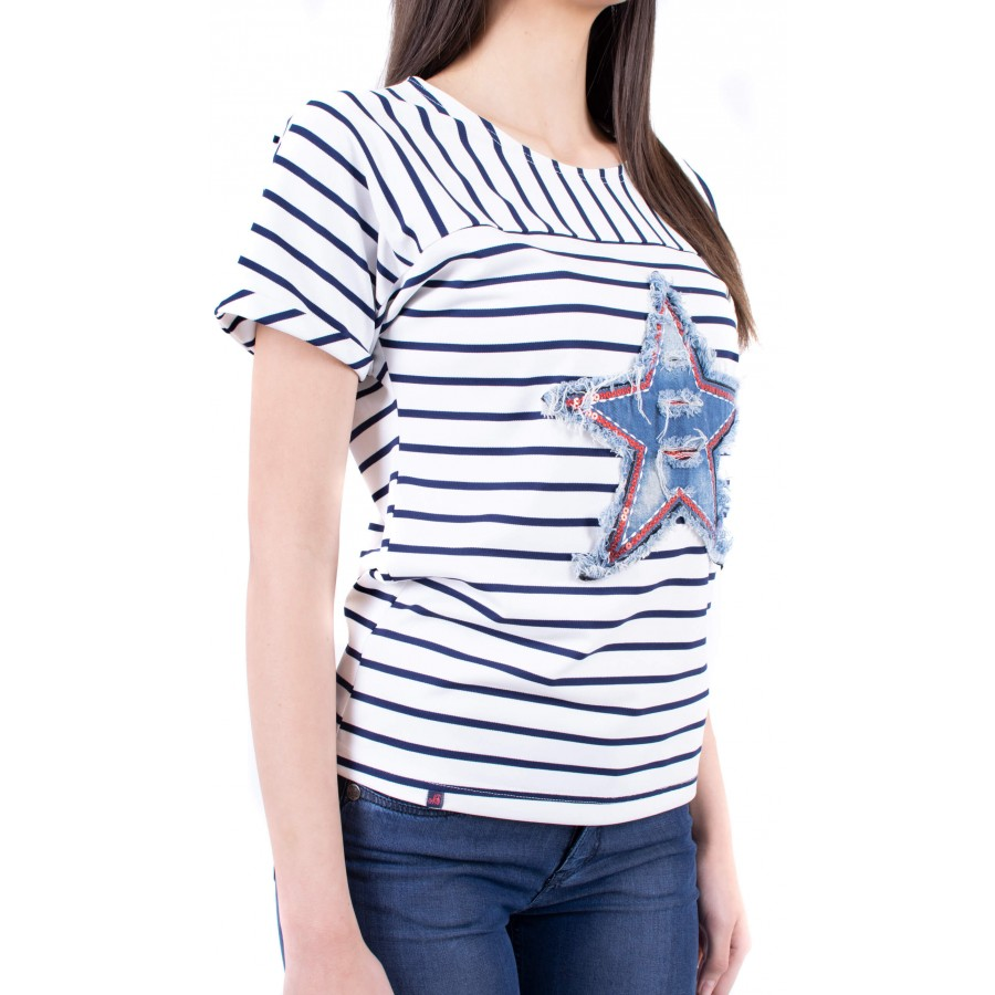 Дамски комплект от блуза райе с летни дънки BN 19213 - 102 SVR / 2019