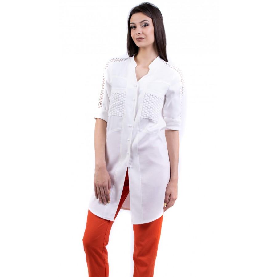 Дамски комплект от бяла туника с ленен панталон BN 19233 - 221 / 2019
