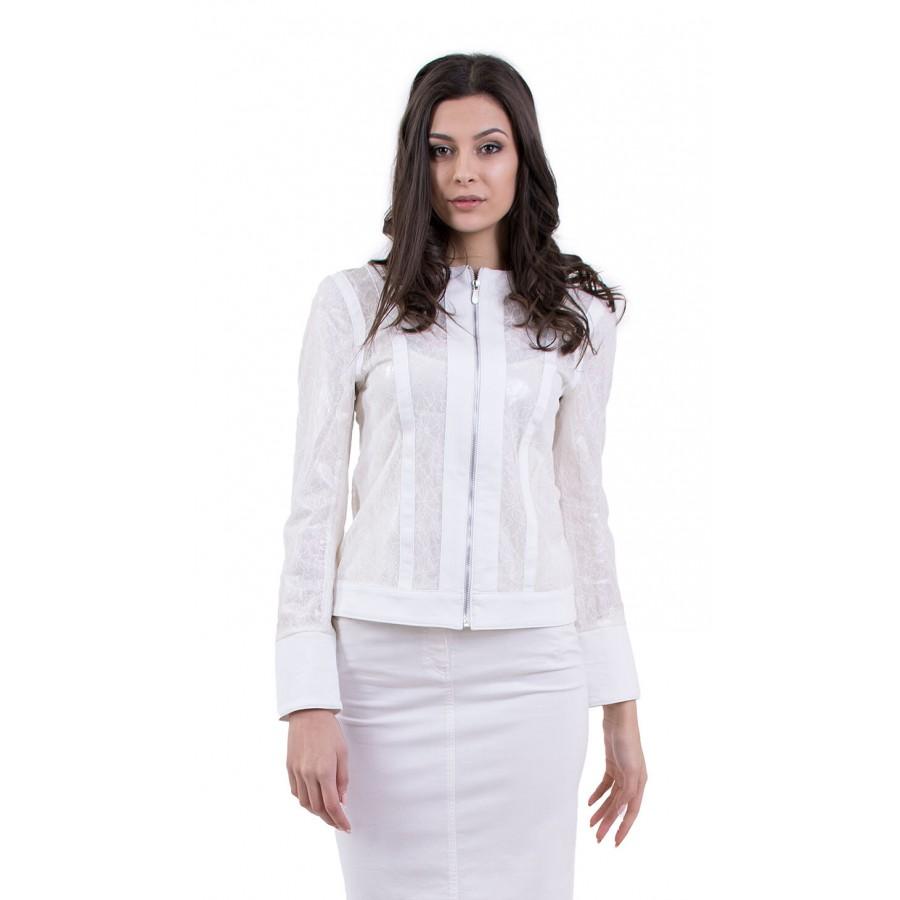 Дамски комплект бяло яке с бяла дънкова пола 19128 - 168 / 2019