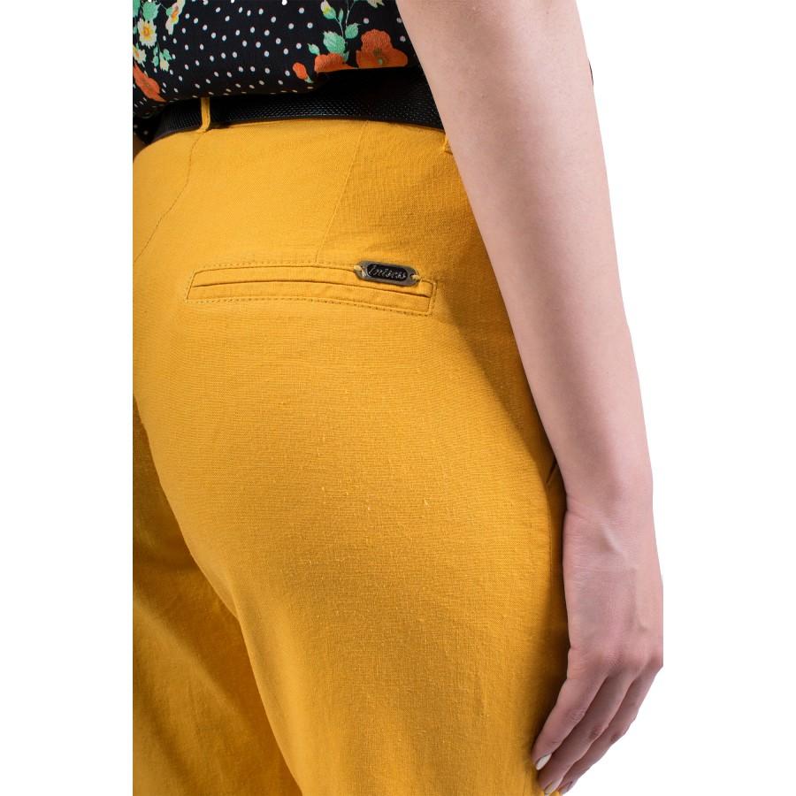 Дамски ленен панталон в горчица N 19220 / 2019