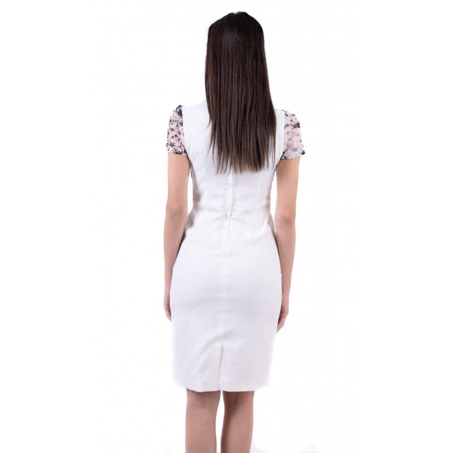 Елегантна дамска бяла рокля R 19201 / 2019