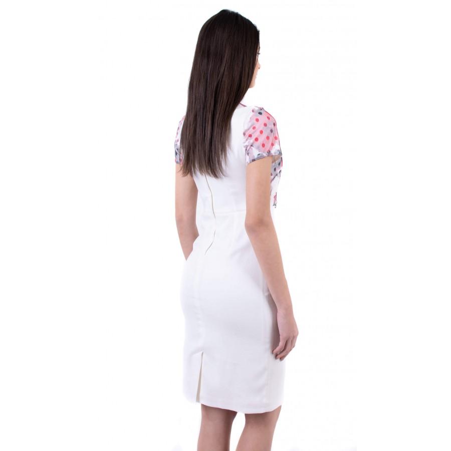 Елегантна дамска бяла рокля R 19202 / 2019