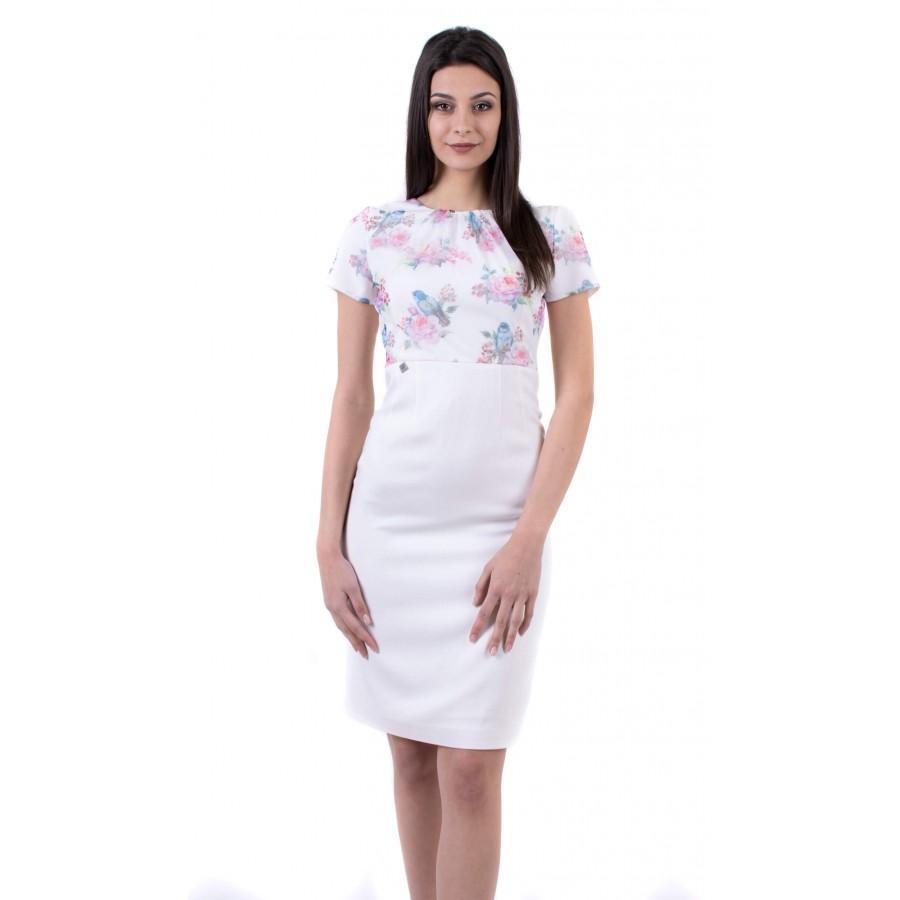 Елегантна дамска бяла рокля R 19203 / 2019