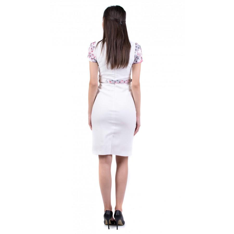 Дамска бяла рокля от поливискон R 19231 / 2019