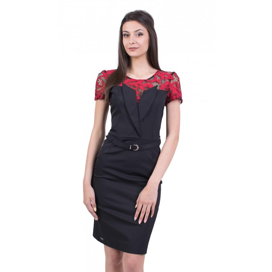 Дамска черна рокля с дантела R 19232 / 2019