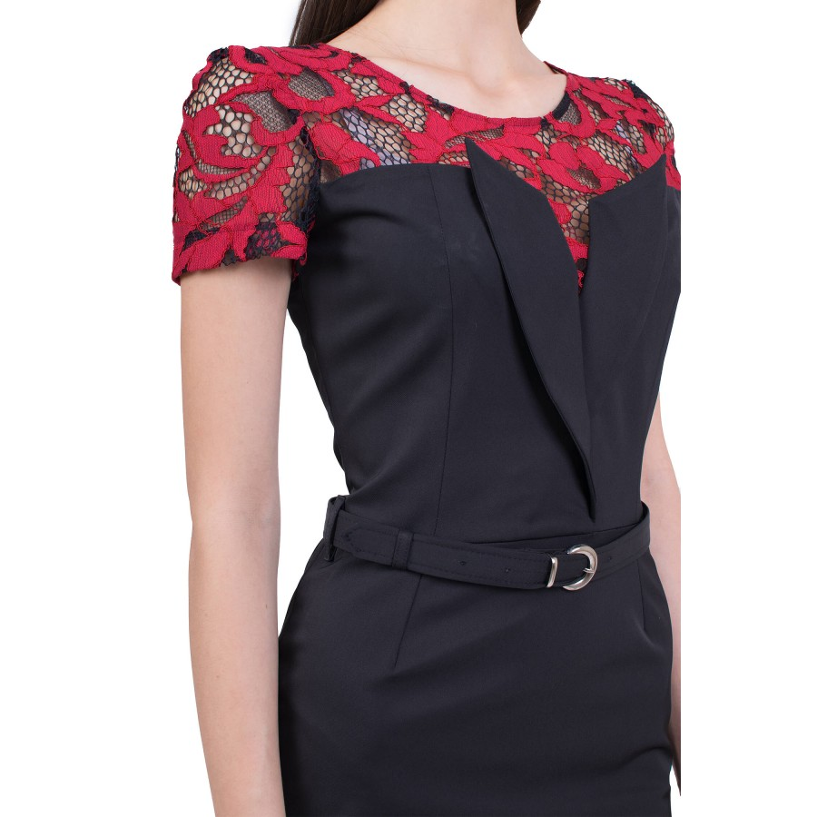 Ladies' black dress with lace R 19232 / 2019