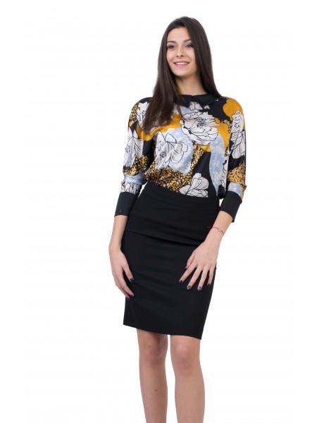 Дамски Комплект Блуза с Черна Права Пола 20126 - 146 / 2020