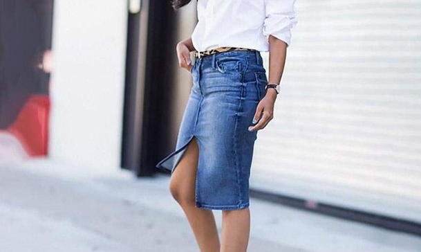 Как да носите молив пола от деним?